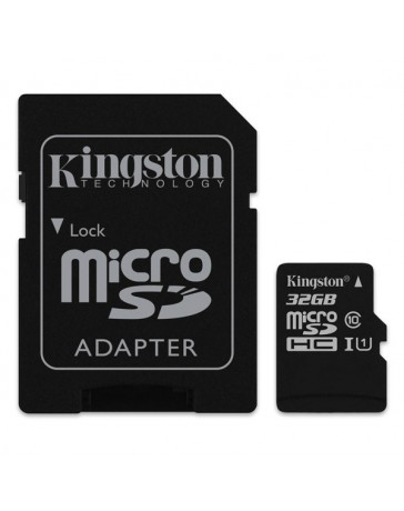 MICRO SDHC KINGSTON 32GB + ADAPTADOR CLASE 10