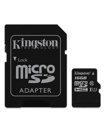 MICRO SDHC KINGSTON 16GB + ADAPTADOR CLASE 10