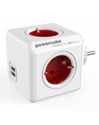 REGLETA POWERCUBE 230V ROJO ORIGINAL 2 USB 4 EXITS