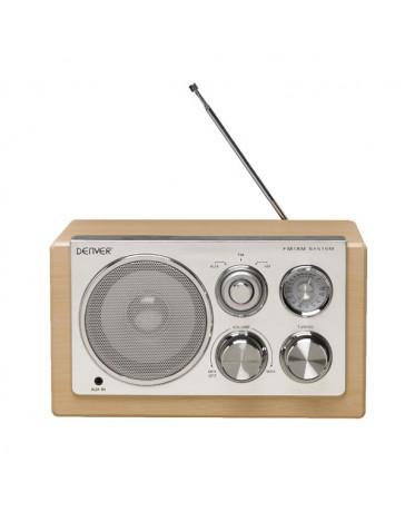 RADIO PORTATIL DENVER TR-61 LIGHTWOOD FM/AM DISEÑO RETRO