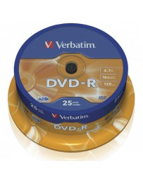 DVD-R VERBATIM 16X ADVANCED AZO 4.7GB CAKE 25 120M