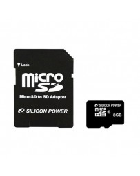 MICRO SDHC SILICON 8GB + ADAPTADOR CLASE 10