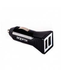 CARGADOR APPROX 2 USB MECHERO COCHE APPUSBCAR21B NEGRO