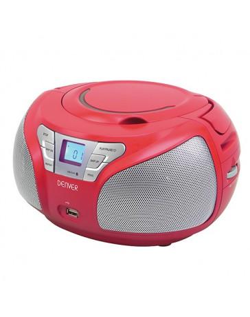 RADIO PORTATIL DENVER BOOMBOX CD/MP3 FM + AUX + USB RED