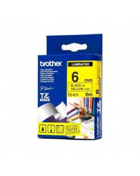 CINTA BROTHER ORIG.TZ611/E AMARILLO/NEGRO 6MM