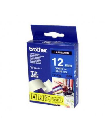 CINTA BROTHER ORIG.TZ535/E AZUL/BLANCO 12MM