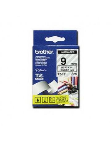 CINTA BROTHER ORIG.TZ121/E TRANSP./NEGRO 9MM