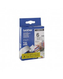 CINTA BROTHER ORIG.TZ211/E BLANCO/NEGRO 6MM
