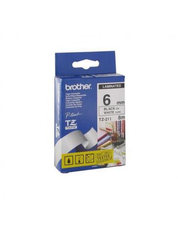 CINTA BROTHER ORIG.TZ211/E BLANCO/NEGRO 6MM