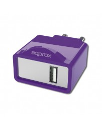 CARGADOR APPROX USB ALIM.PARED APPUSBWALL1P PURPURA