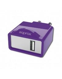CARGADOR APPROX USB ALIM.PARED APPUSBWALL1P PURPURA