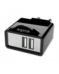 CARGADOR APPROX 2 USB ALIM.PARED APPUSBWALL21B NEGRO
