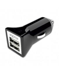 CARGADOR APPROX 2 USB MECHERO COCHE APPUSBCAR31B NEGRO