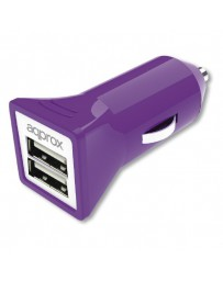 CARGADOR APPROX 2 USB MECHERO COCHE APPUSBCAR31P PURPURA*